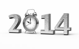 New Year 2014 and Alarm Clock. 3d render Silver New Year 2014 and Alarm Clock (isolated on white and clipping path royalty free illustration