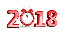 New Year 2018 and Alarm clock Stock Images