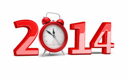 New Year 2014 and Alarm Clock. 3d render New Year 2014 and Alarm Clock ( on white and clipping path Royalty Free Stock Images