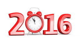 New Year 2016. And Alarm clock (isolated on white and clipping path Stock Images
