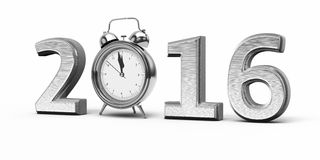 New Year 2016. And Alarm Clock silver (isolated on white and clipping path Royalty Free Stock Photo