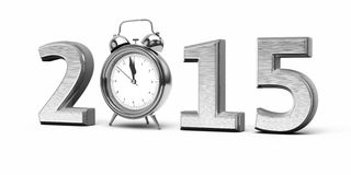 New Year 2015. And Alarm Clock silver ( on white and clipping path Stock Image