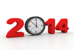 New Year 2014 and Alarm clock Stock Photo