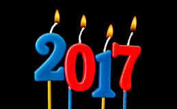 New year 2017 - Alphabet anniversary candles in 2017 Stock Images