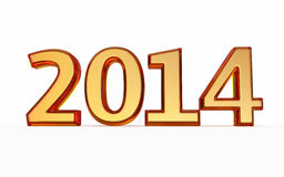 New Year 2014 amber texture. 3d render New Year 2014 amber texture ( on white and clipping path Royalty Free Stock Photos