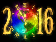 New year 2016 America. Illustration of rainbow planet Earth - America. Cosmic clock and numbers 2016. Happy new year 2016 Stock Photos