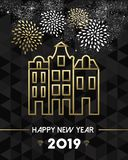 New Year 2019 amsterdam netherlands travel gold royalty free illustration
