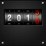 2016 New Year Analog Counter detailed vector. 2016 New Year Analog Counter on metal plate detailed vector Stock Photos