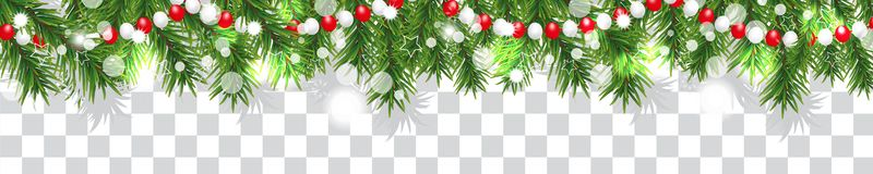 Free New Year And Christmas Border Garland Of Christmas Tree Branches And Beads On Transparent Background. Holidays Decoration. Vector Stock Photos - 132059943