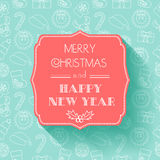 New Year And Christmas Card. Flat Design. Seamless Background. Typography. Shadow. Stock Photos