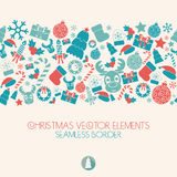 New Year And Christmas Seamless Border. Christmas Icons. Retro Colors. Royalty Free Stock Photo