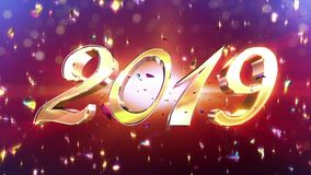New Year 2019 Animation. 2019 New Year animation. Best for New Year`s Eve, friends party, and other event stock video
