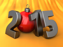 2015 new year ans Christmas. 3d illustration of 2015 new year and Christmas over orange background Stock Images