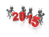 New Year 2015 with ants.3d concept. New year celebration 2015. 3d concept royalty free illustration