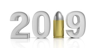 2019 New year with army bullet isolated on white background. 3d illustration royalty free illustration