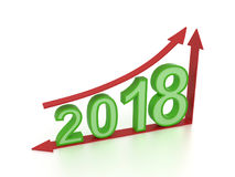 New Year 2018 with Arrow. 3D Rendered Image stock illustration