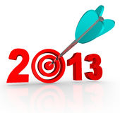 2013 New Year Arrow in Number Target. The year 2013 with an arrow in a bullseye target inside the number to symbolize targeted goals for the new year Royalty Free Stock Photography