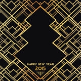 New Year 2015 Art Deco Card. Christmas Art Deco Card - with place for your text - in vector Stock Photo