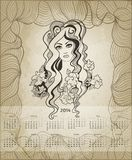 2014 New Year artistic calendar. This is file of EPS10 format royalty free illustration