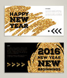 New Year 2016 artistic invitations with trendy. Hand drawn New Year 2016 artistic invitations with trendy golden paint stain and typographic design. Vector Stock Photography