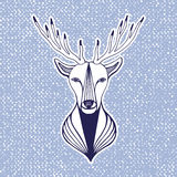 New year artwork with deer head. Hipster print, sticker or element for design. Vector line art hipster illustration. Royalty Free Stock Photos