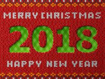 New Year 2018 as hole in knitted background. Fragment of knitwear with year number and holiday wishes. Best vector image for new years day, christmas, winter Royalty Free Stock Image