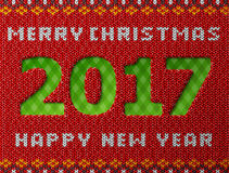 New Year 2017 as hole in knitted background. Fragment of knitwear with year number and holiday wishes. Vector illustration for new years day, christmas, winter Royalty Free Stock Image