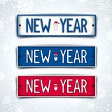 New Year as realistic car sign Stock Images