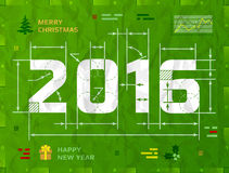 New Year 2016 as technical blueprint drawing Royalty Free Stock Image