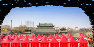New Year atmosphere temple. In Shanxi China Royalty Free Stock Images