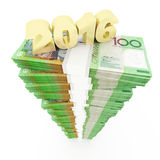 New year 2016 and Australian dollar stack Royalty Free Stock Photography