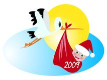New year baby and stork. A stork transporting new year baby vector illustration stock illustration
