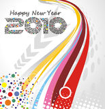 New year background. Abstract wave line background with  new year 2010. Vector illustration Royalty Free Stock Photos