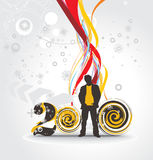 New year background. Abstract new year background with standing businessman . Vector illustration Stock Photography