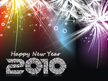 New year background. Xmas snow background with  new year 2010  in rainbow background. Vector illustration Royalty Free Stock Photo