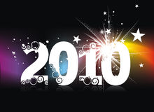 New year background. Xmas snow background with  new year 2010  in rainbow background. Vector illustration Royalty Free Stock Images