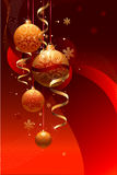 NEW YEAR BACKGROUND. With spheres and tapes vector illustration