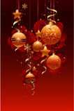 NEW YEAR BACKGROUND. With spheres and tapes royalty free illustration