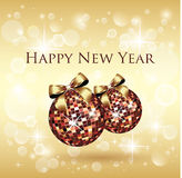 New Year Background. Golden New Year Background - Christmas Balls Royalty Free Stock Photo