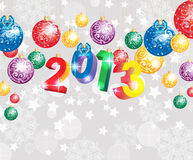New Year background 2013. New Year background with colorful decoration balls and snowflakes, illustration Stock Image