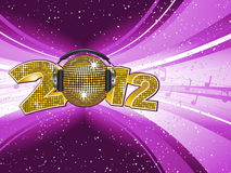 New year background. Sparkling gold disco ball and headphones on a 2012 mosaic sign Royalty Free Stock Image