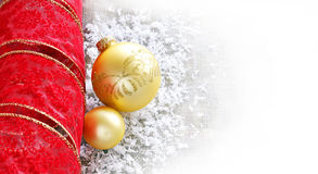 New Year background. With red bow and two decorative balls Royalty Free Stock Images