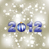 New Year Background. With 2012 digits and christmas ball Royalty Free Stock Photography