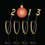 New year background. With glasses of champagne Stock Image