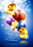 New Year background. Christmas background with the date 2013 and the balls Royalty Free Stock Photography