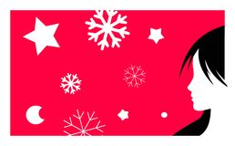 New year background. Vector illustration with girl profile and snowflakes Stock Photo