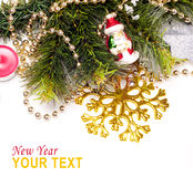 New year background. New year card with beautiful color decorations, furtree and place for text Royalty Free Stock Image