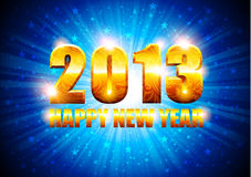 New Year background. Bright blue background with gold numbers 2013 Royalty Free Illustration