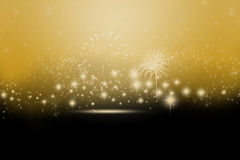 New year background. In gold and black with sparkles fireworks Stock Photo