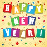 New year background. Yellow new year backgroun with stickers and text Stock Images